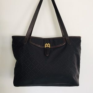 Bally Monogram Black & Brown canvas & leather tote